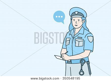 Policewoman Issuing A Fines Cartoon Vector Illustration With Speech Bubble Isolated On Blue Backgrou