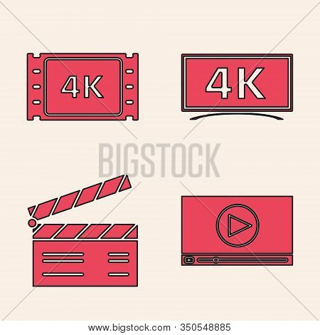 Set Online Play Video , 4k Movie, Tape, Frame , Screen Tv With 4k Ultra Hd Video Technology And Movi