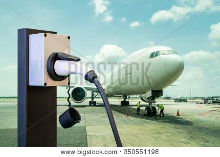 Electric Aircraft Charger Station With Plug And Power Cable Supply On Cargo Or Airplane Parking With