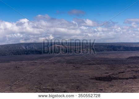 Kilauea Volcano, Hawaii, Usa. - January 9, 2012: Wider Scene Of The Volcano Black Lava Environement
