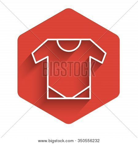 White Line Baby Onesie Icon Isolated With Long Shadow. Baby Clothes Symbol. Kid Wear Sign. Red Hexag
