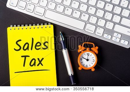 Sales Tax - From The Consumer At The Point Of Purchase Or Online Shop. Shopping And Taxation. Workpl