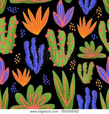 Cactus Seamless Vector Pattern. Cacti In Bright Colors On Black Background. Modern Nature Repeated T