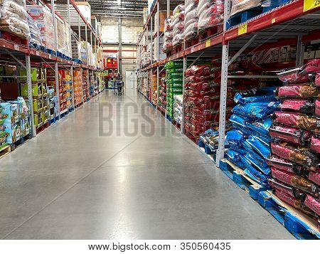 Orlando, Fl/usa-2/11/20: The Pet Food Aisle At A Sams Club Ready For Pet Owners To Purchase Bags Of
