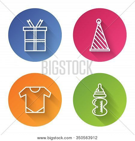 Set Line Gift Box, Party Hat, Baby Onesie And Baby Bottle. Color Circle Button. Vector