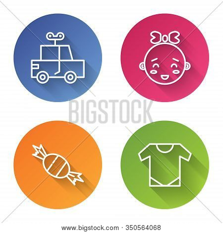 Set Line Toy Car, Happy Little Girl Head, Candy And Baby Onesie. Color Circle Button. Vector