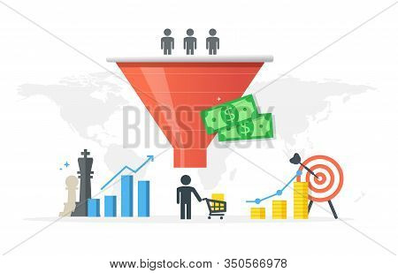 Generating New Clients And Sales Growth Flat Vector Concept. Purchase Funnel And Lead Generation In
