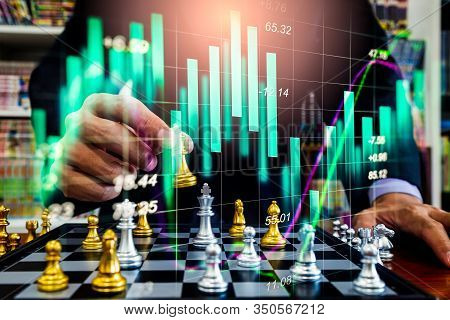Chess Game On Chess Board On Stock Market Or Forex Trading Graph Chart For Financial Investment Conc