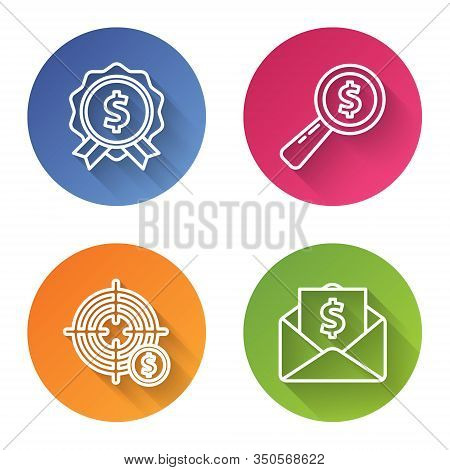 Set Line Price Tag With Dollar, Magnifying Glass And Dollar, Target With Dollar Symbol And Envelope