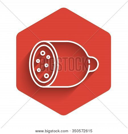 White Line Salami Sausage Icon Isolated With Long Shadow. Meat Delicatessen Product. Red Hexagon But