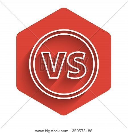 White Line Vs Versus Battle Icon Isolated With Long Shadow. Competition Vs Match Game, Martial Battl