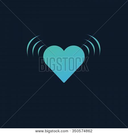 Vibrating Heart Beating With Impolse Signal. Shaking Heart. Stock Vector Illustration Isolated On Bl
