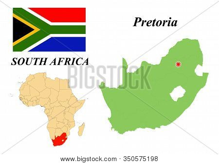 South Africa. The Capital Is Cape Town. Flag Of South Africa. Map Of The Continent Of Africa With Co