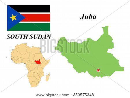 Republic Of South Sudan. Capital Of Juba. Flag Of The Republic Of South Sudan. Map Of The Continent