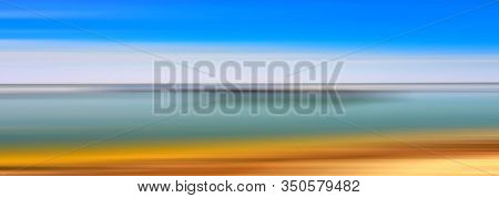 Abstract line de-focus soft horizontal background. Sky and water. Digital illustration.