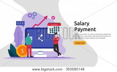 Payroll Income Concept. Salary Payment Annual Bonus. Payout With Paper, Calculator, And People Chara