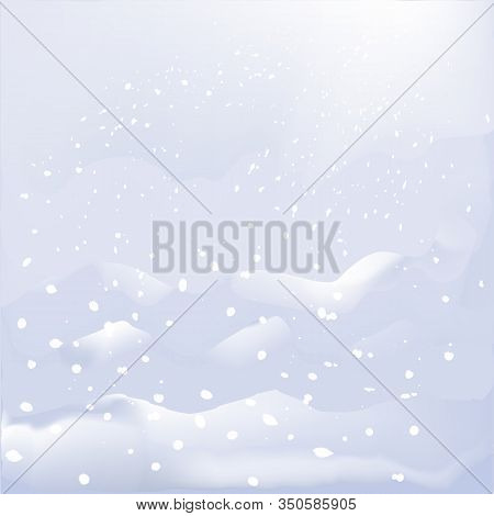 Abstract Winter Landscape With Snow-cover Mountains, Snowfall, Snowflakes,  Snowdrifts, Sky In Paste