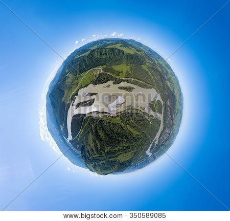 Aerial  Panoramic View Of Planet Earth Above River Katun In The Altai Mountains With Green Trees, Bl