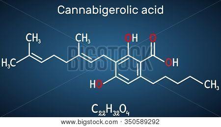 Cannabigerolic Acid, Cbga, Molecule. It Is Cannabinoid, Precursor Tetrahydrocannabinolic Acid Thca,