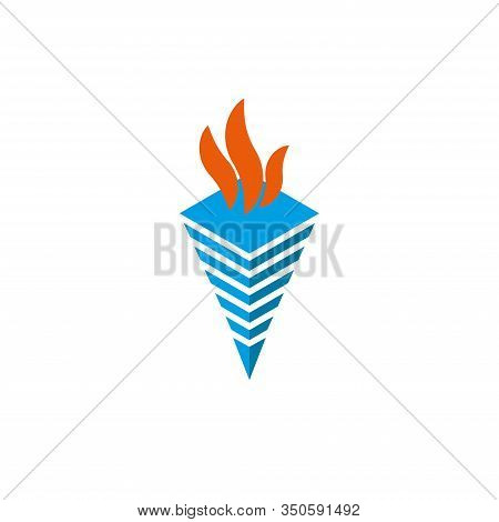 Logo Torch With Flames Isometric Shape Symbol Of Fire Or Enlightenment.
