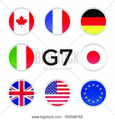 G7 Summit Flags Isolated Icons With European Union. Simple Circle Flags Vector Design.