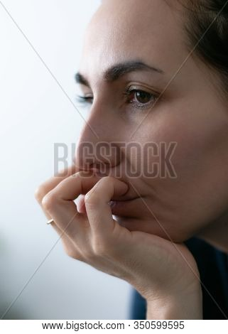 Portrait Of Sad Depressed Woman. Close Up Portrait Of Depressed Woman. Woman In Depression. Sad Depr