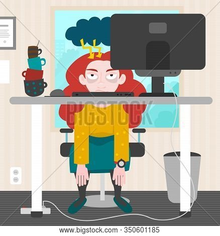 Young Redhead Woman Sitting Desperately And Exhausted In Office. Tower Of Empty Coffe Mugs. Cloud Wi
