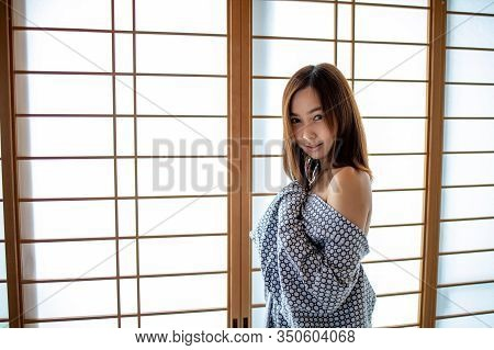 Sexy Girl Wearing Yukata On Lower Body And Nude On Upper With Lonely Face In Japanese Tatami Room St