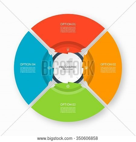 Infographic Process Chart. Circular Design Template With 4 Arrows Pointing To The Center. Cycle Diag