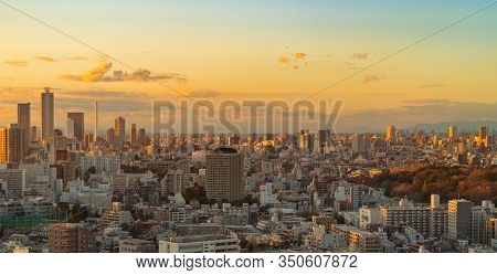 Aerial View Of Tokyo Downtown Skyline, Urban City In Japan. Apartments And Residential District In S