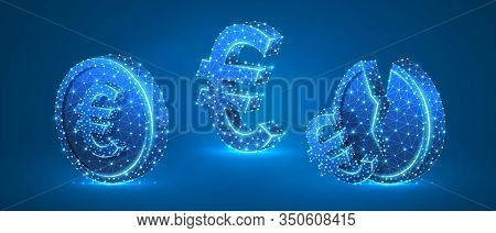 Set Of Euro Coins. Money Growth And Downtrend Concept. Blank And Broken Coins. Low Poly, Wireframe D
