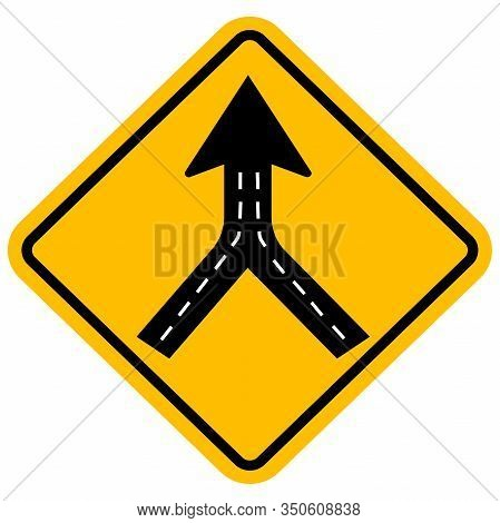 Warning Sign Two Way Road Merge. Traffic Symbol. Yellow Background.