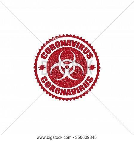 Coronavirus Icon And Round Distressed Stamp Seal With Coronavirus Text. Coronavirus Icon, 2019-ncov