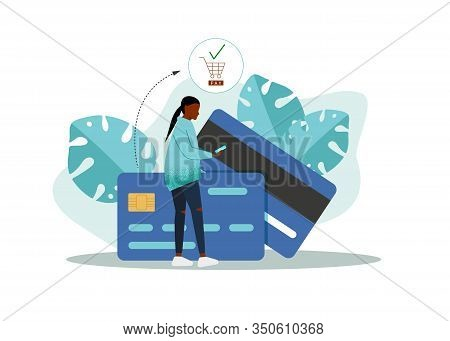 Vector Flat Style Background, African American Woman In Front Of A Huge Cell Phone. Credit Card Icon