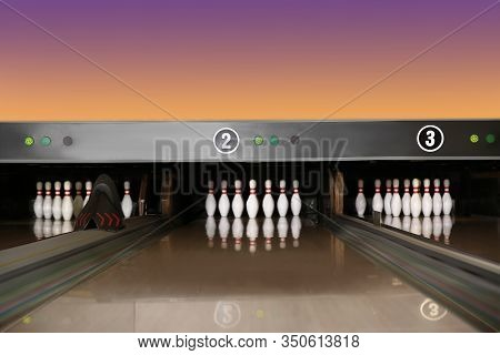 Bowling Alley Lanes With Pins In Club