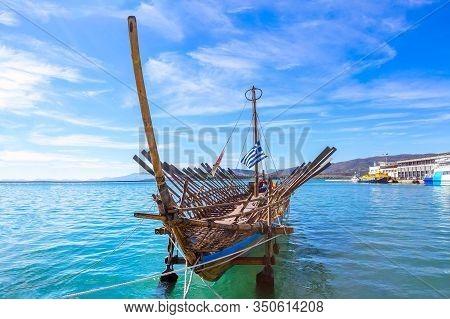 Argo Legendary Ship Copy In Port Volos, Greece. Greek Mythology Argonauts Sailed Argo To Retrieve Th