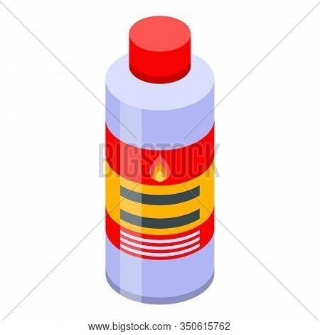 Fire Ignite Bottle Icon. Isometric Of Fire Ignite Bottle Vector Icon For Web Design Isolated On Whit