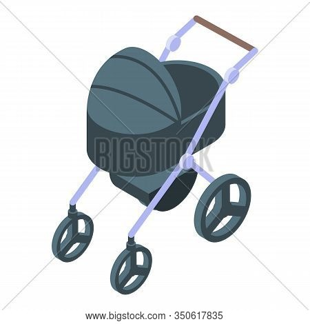 Modern Baby Pram Icon. Isometric Of Modern Baby Pram Vector Icon For Web Design Isolated On White Ba