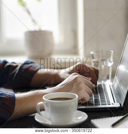 Businessman Working On Desk At Home Office Business