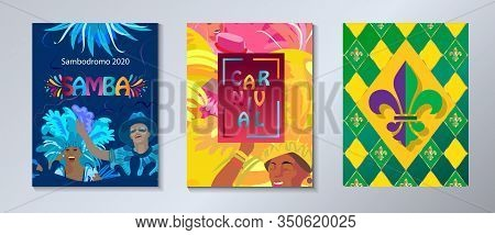 Set of 2020 Abstract Rio Brazilian Carnival music dance festival night party brochure covers, banners, flyers. Happy people Samba dancers parade Sambadrome, New Orleans Mardi Gras, Notting Hill London Venezia costume mask firework exotic tropical palm lea