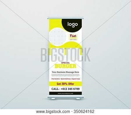 Restaurants Business Roll Up Banner Stand. Abstract Roll Up Background For Presentation. Vertical Ro