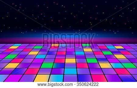 Banner For Printing Night Disco Parties. Retro Vintage Neon Grid Dance Floor Horizon 80s And 90s