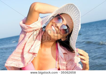 Beach bikini girl having fun © Lulzim Hoxha poster