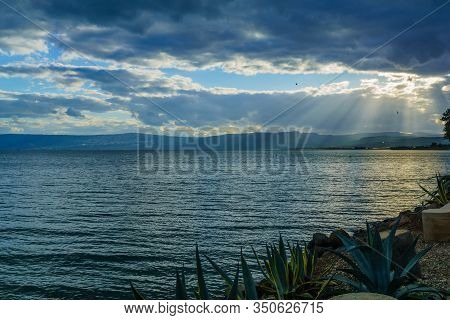View Of The Sea Of Galilee (kinneret Lake), From The North, With Clouds And Sun Beams, Northern Isra