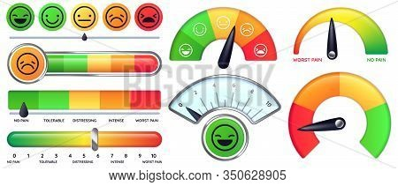 Pain Scale Meter. Smile And Sad Emotion Measure, No Pain And Worst Pain Scales Vector Set. Collectio