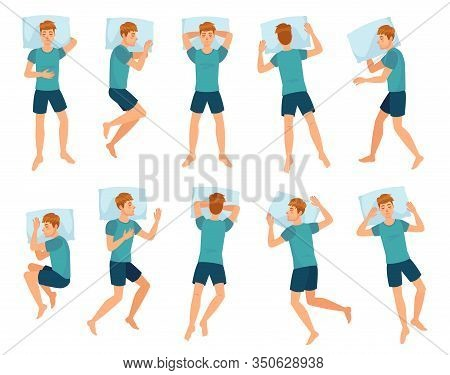 Man Sleeps In Different Poses. Male Character Sleep, Mans Sleeping In Bed Top View Vector Illustrati