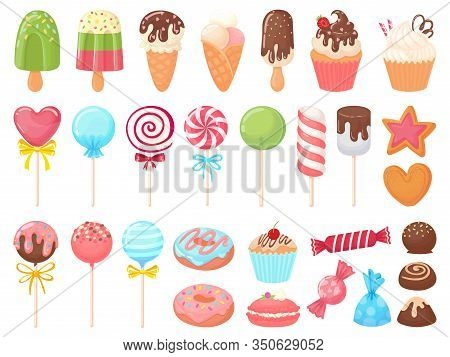 Cartoon Sweets. Sweet Ice Cream, Cupcakes And Chocolate Candies. Delicious Donut, Cookies And Candy