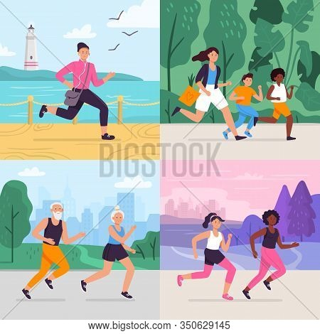 Cartoon Running Workout. Runner Run Outdoor At Park Fitness Track, Athlete On Stadium, Sportsman Run