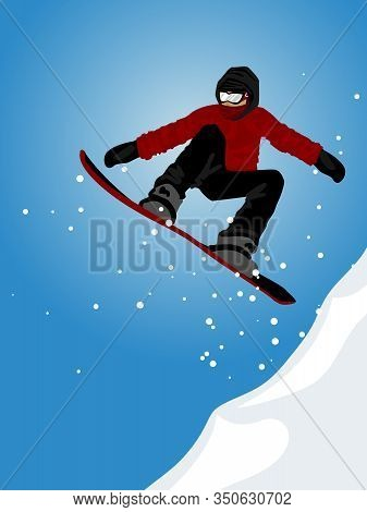 Winter Sport Of A Snowboarder Jumping On Snow Hill Against Blue Sky. Vector Illustration.