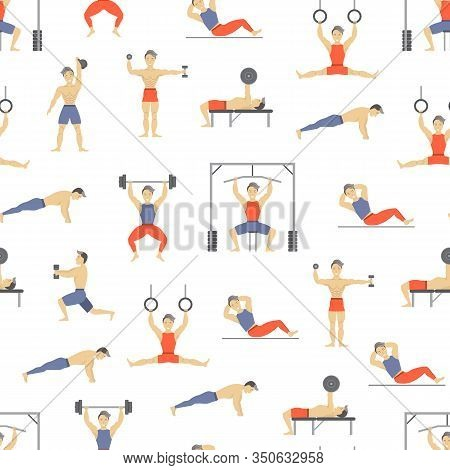 Cartoon Characters Muscular Man Seamless Pattern Background Active Sport Concept Element Flat Design